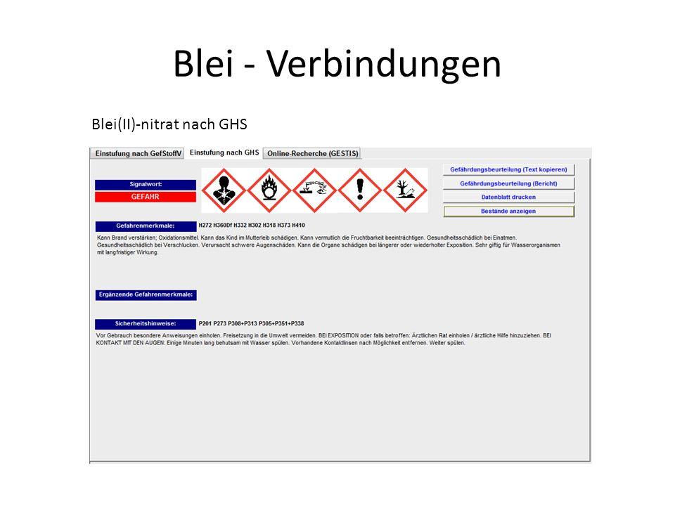 Blei - Verbindungen Blei(II)-nitrat nach GHS