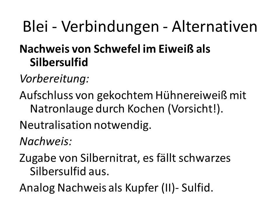 Blei - Verbindungen - Alternativen