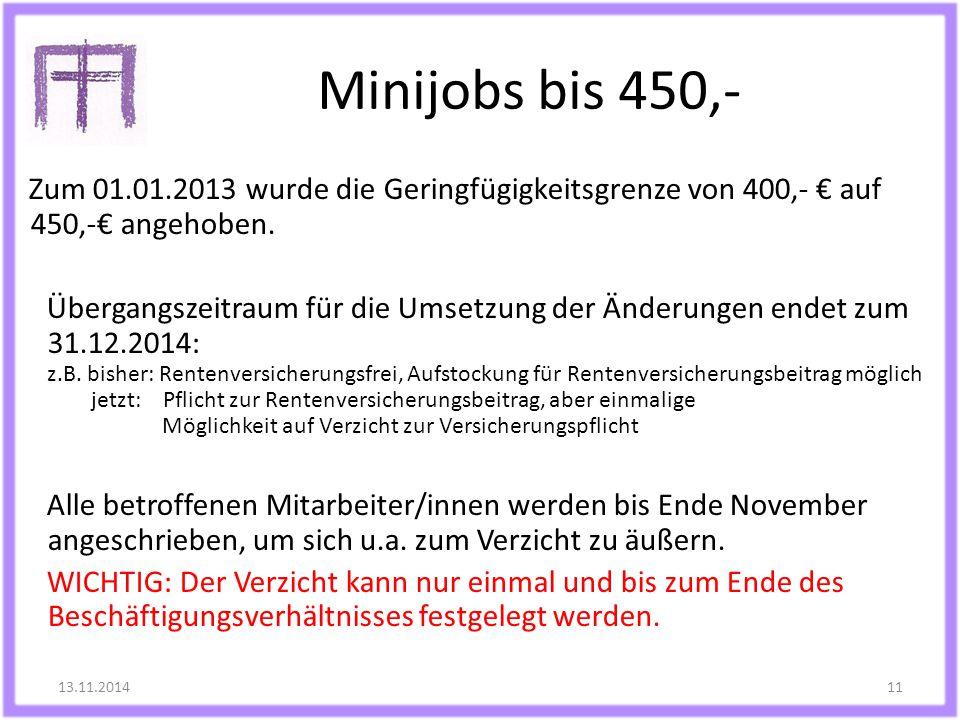 Minijobs bis 450,-