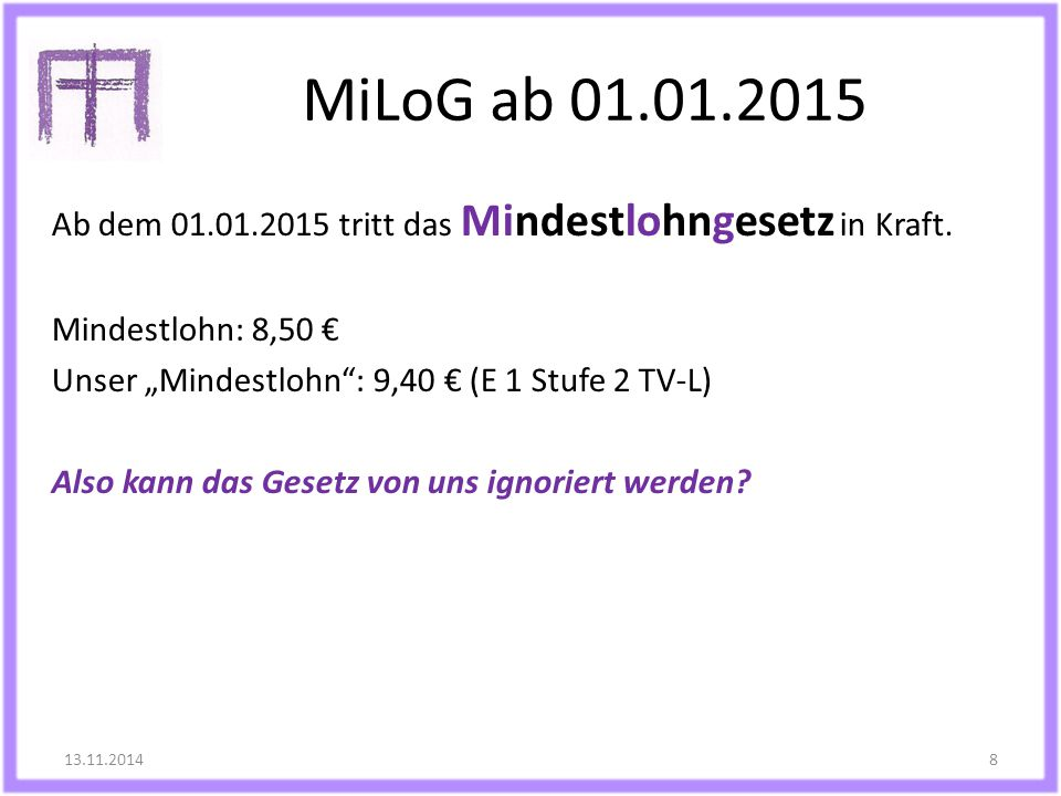 MiLoG ab 01.01.2015