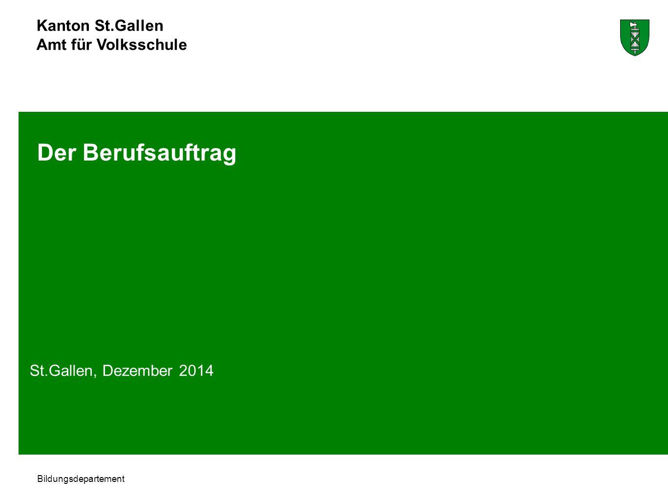 Der Berufsauftrag St.Gallen, Dezember 2014