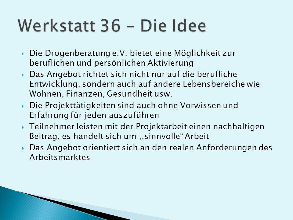 Werkstatt 36 – Die Idee Die Drogenberatung e.V. bietet eine Möglichkeit zur beruflichen und persönlichen Aktivierung.