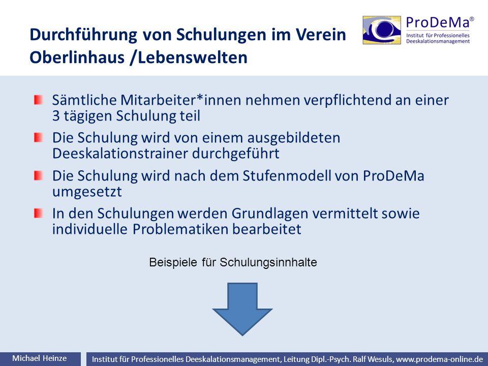 Durchführung von Schulungen im Verein Oberlinhaus /Lebenswelten