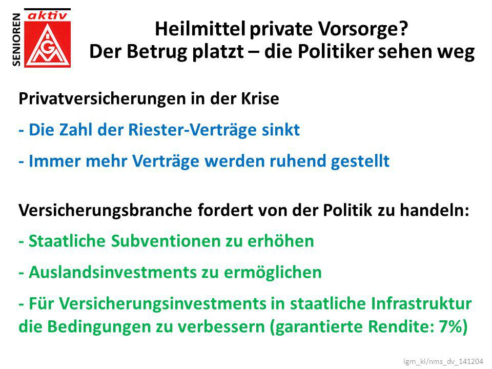 Heilmittel private Vorsorge
