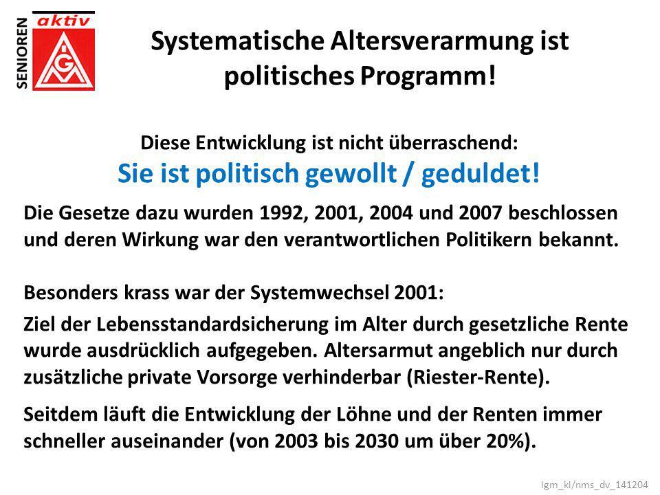Systematische Altersverarmung ist politisches Programm!