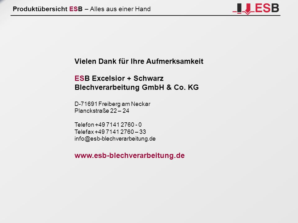 Vielen Dank für Ihre Aufmerksamkeit ESB Excelsior + Schwarz