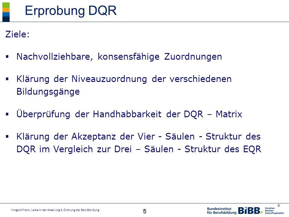 Erprobung DQR Ziele: Nachvollziehbare, konsensfähige Zuordnungen