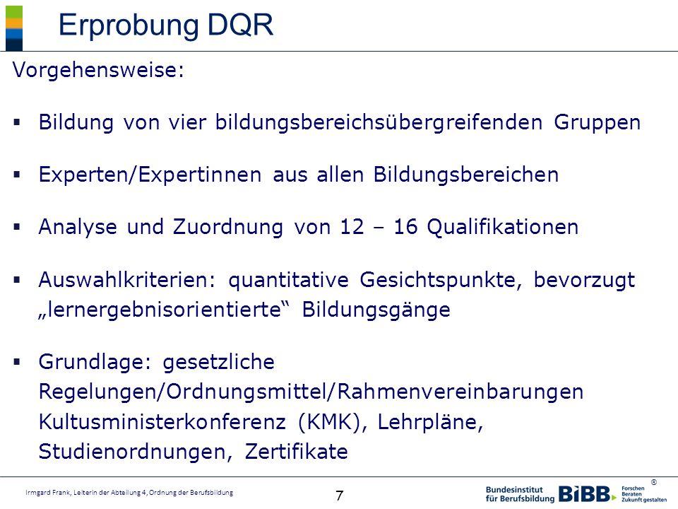 Erprobung DQR Vorgehensweise:
