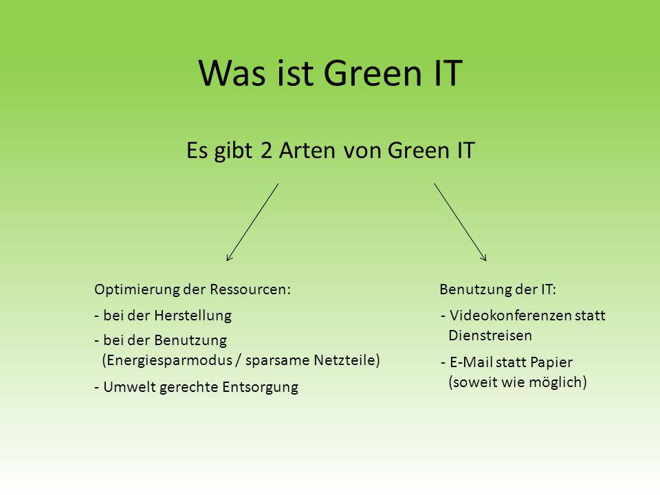 Was ist Green IT Es gibt 2 Arten von Green IT