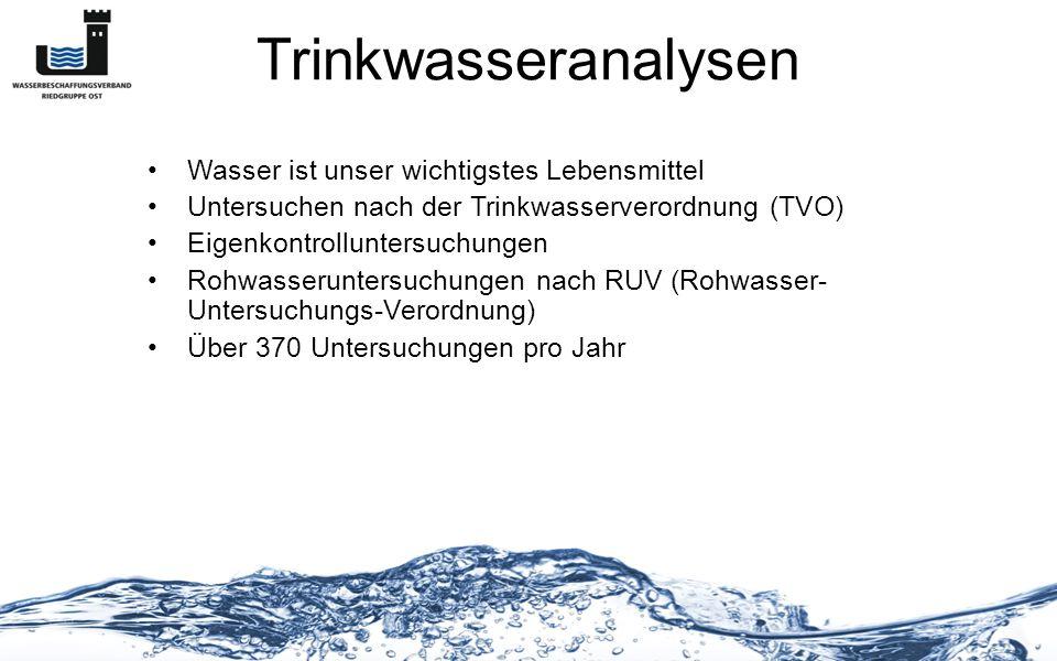 Trinkwasseranalysen Wasser ist unser wichtigstes Lebensmittel
