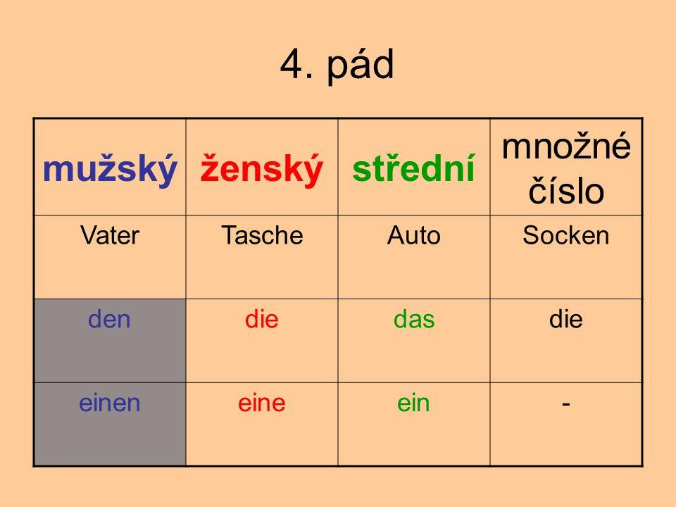 4. pád mužský ženský střední množné číslo Vater Tasche Auto Socken den