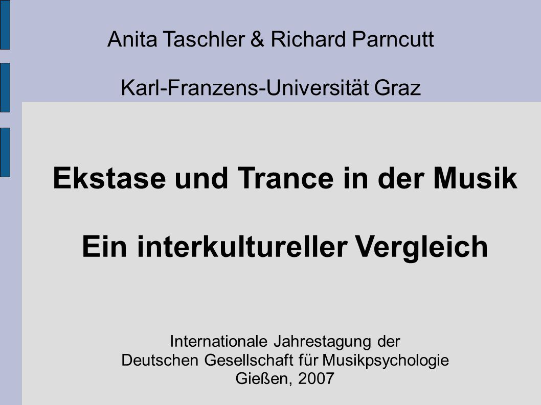Ekstase und Trance in der Musik Ein interkultureller Vergleich