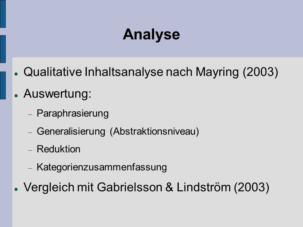 Analyse Qualitative Inhaltsanalyse nach Mayring (2003)‏ Auswertung: