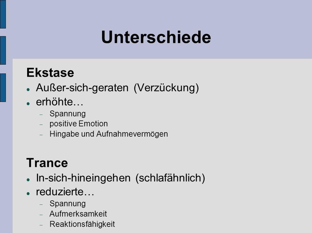 Unterschiede Ekstase Trance Außer-sich-geraten (Verzückung) erhöhte…