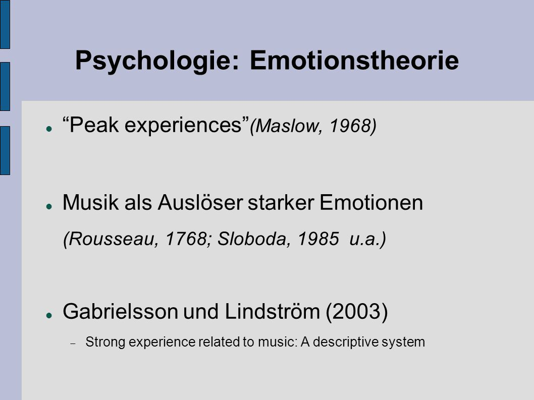 Psychologie: Emotionstheorie