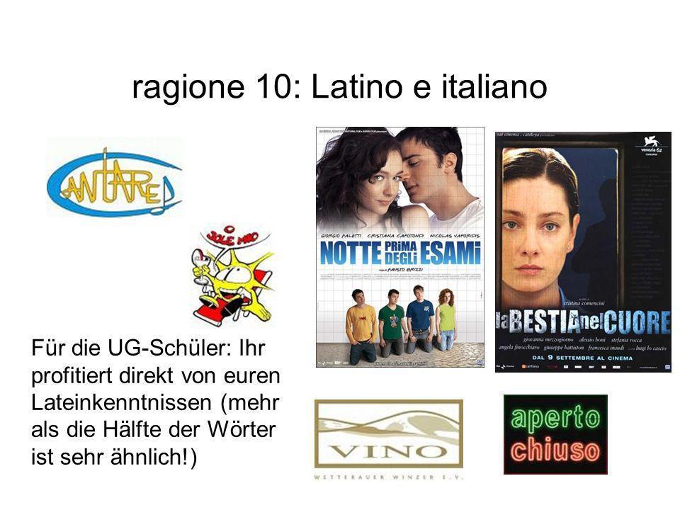 ragione 10: Latino e italiano