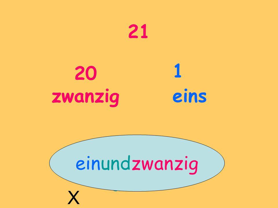 21 20 zwanzig 1 eins einundzwanzig und X