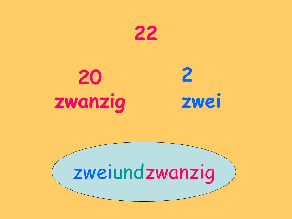 22 20 zwanzig 2 zwei zweiundzwanzig und