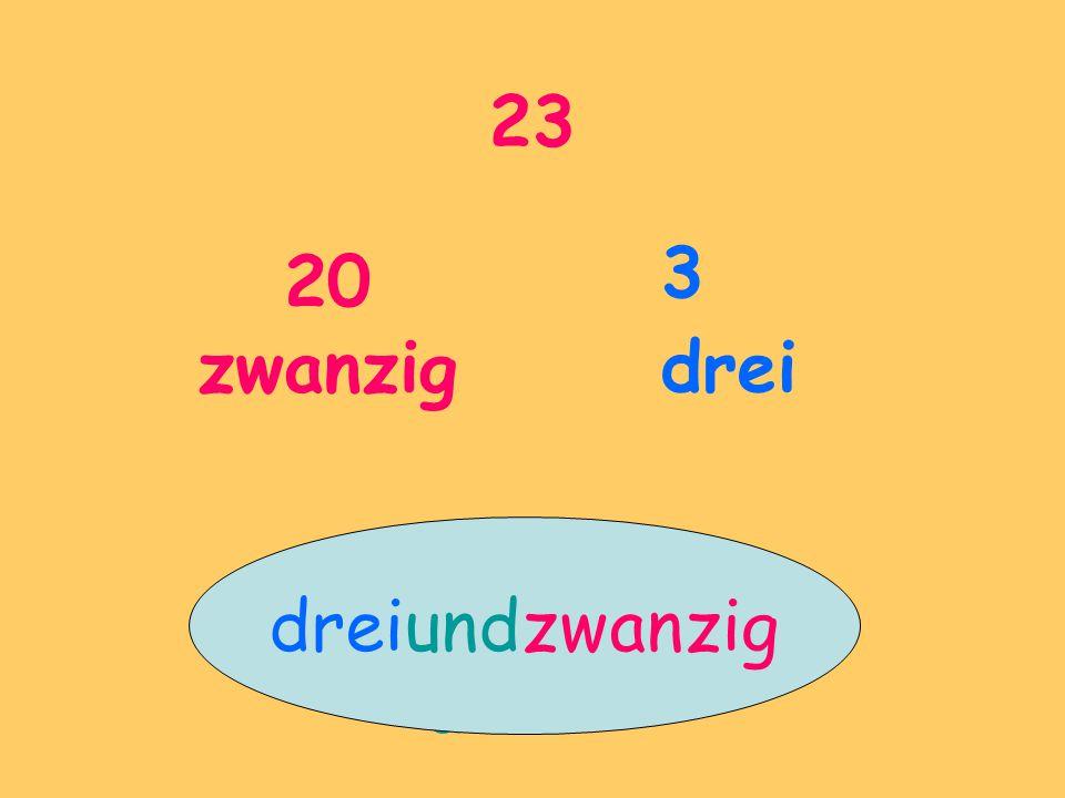 23 20 zwanzig 3 drei dreiundzwanzig und