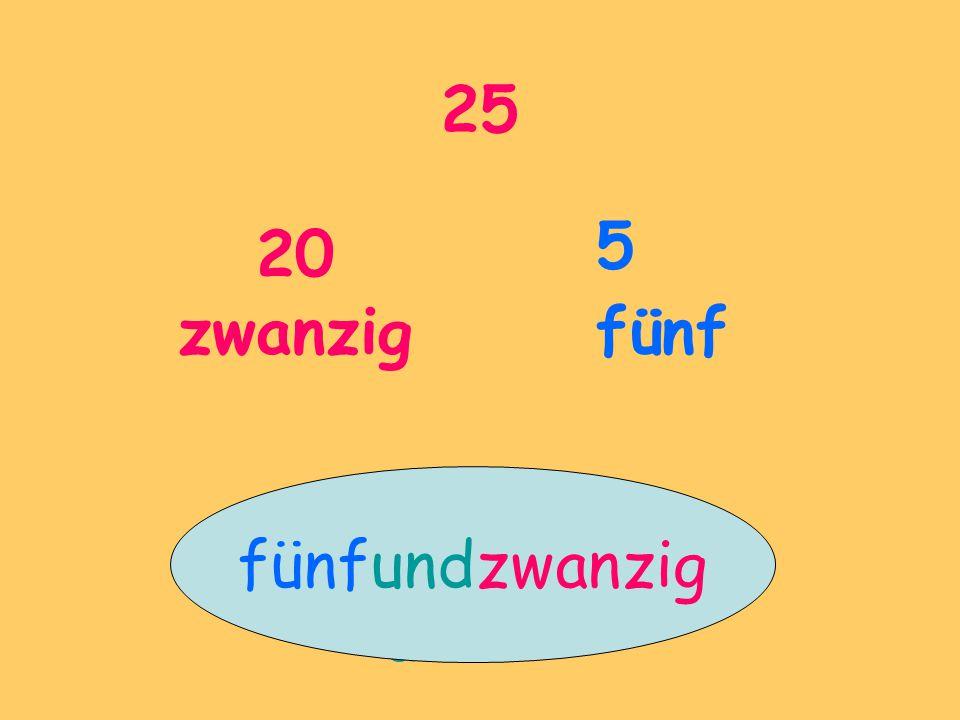 25 20 zwanzig 5 fünf fünfundzwanzig und