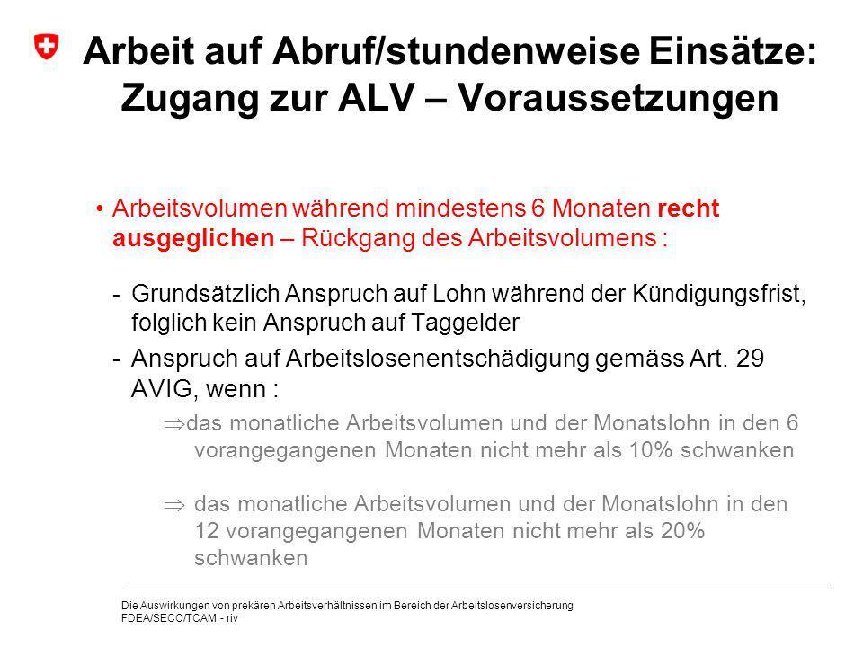 Arbeit auf Abruf/stundenweise Einsätze: Zugang zur ALV – Voraussetzungen