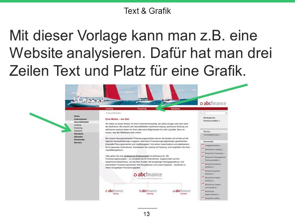 Text & Grafik Mit dieser Vorlage kann man z.B. eine Website analysieren.