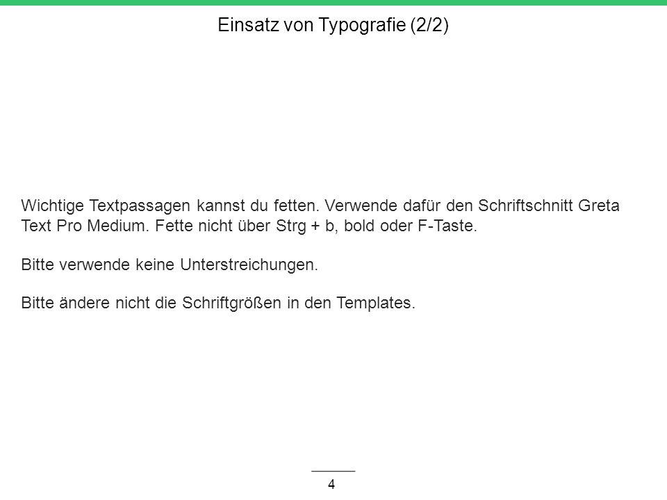 Einsatz von Typografie (2/2)