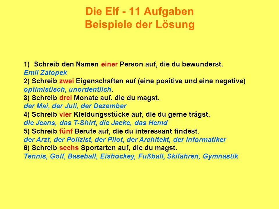 Die Elf - 11 Aufgaben Beispiele der Lösung