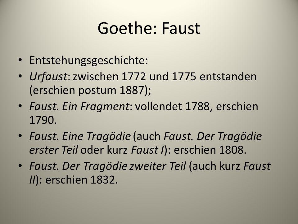 Goethe: Faust Entstehungsgeschichte: