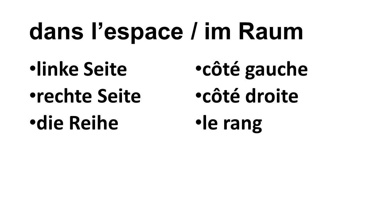 dans l'espace / im Raum linke Seite rechte Seite die Reihe côté gauche