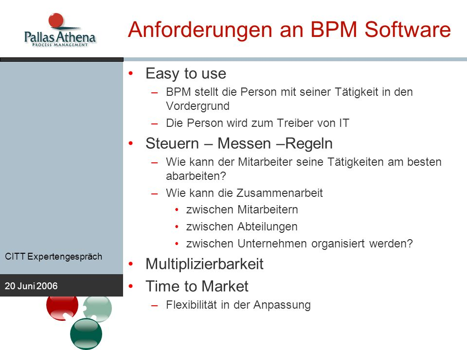 Anforderungen an BPM Software