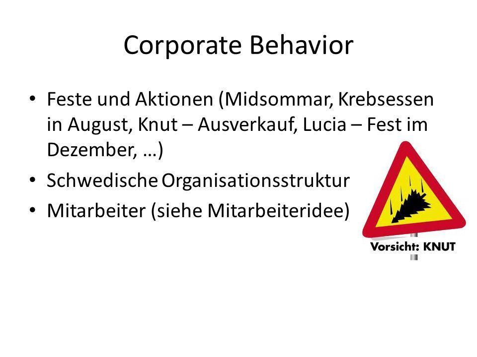 Corporate Behavior Feste und Aktionen (Midsommar, Krebsessen in August, Knut – Ausverkauf, Lucia – Fest im Dezember, …)