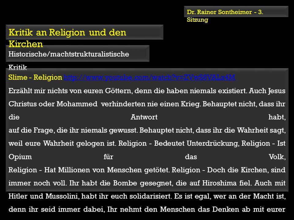 Kritik an Religion und den Kirchen