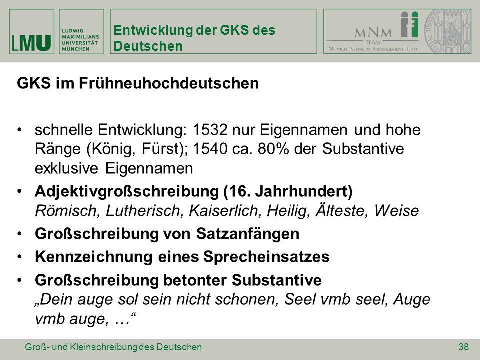 Entwicklung der GKS des Deutschen