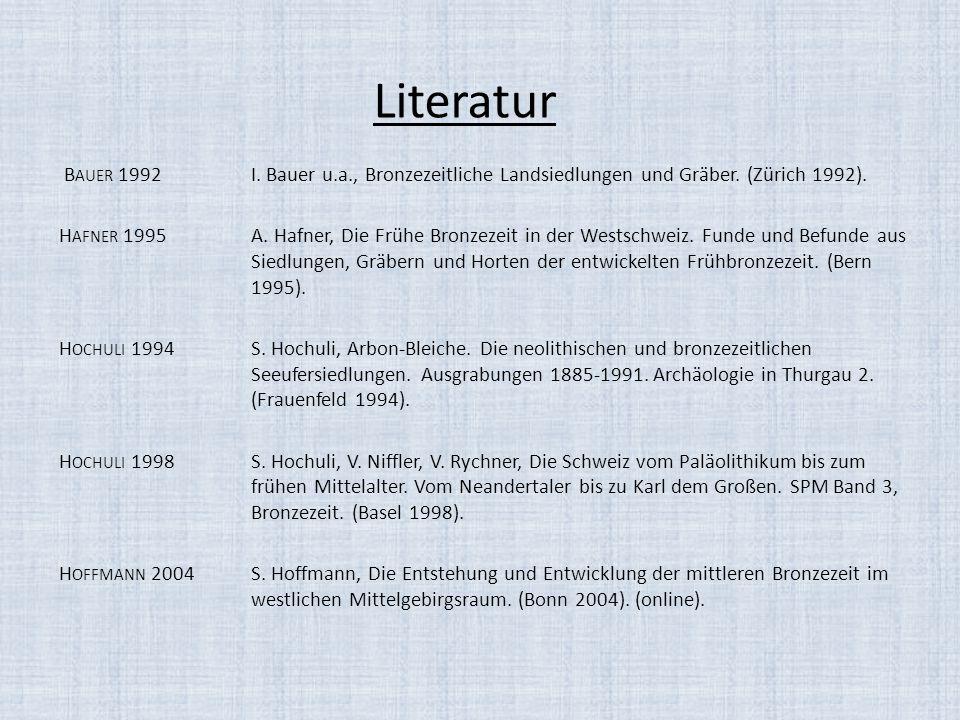 Literatur Bauer 1992 I. Bauer u.a., Bronzezeitliche Landsiedlungen und Gräber. (Zürich 1992).