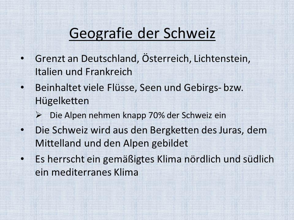 Geografie der Schweiz Grenzt an Deutschland, Österreich, Lichtenstein, Italien und Frankreich.