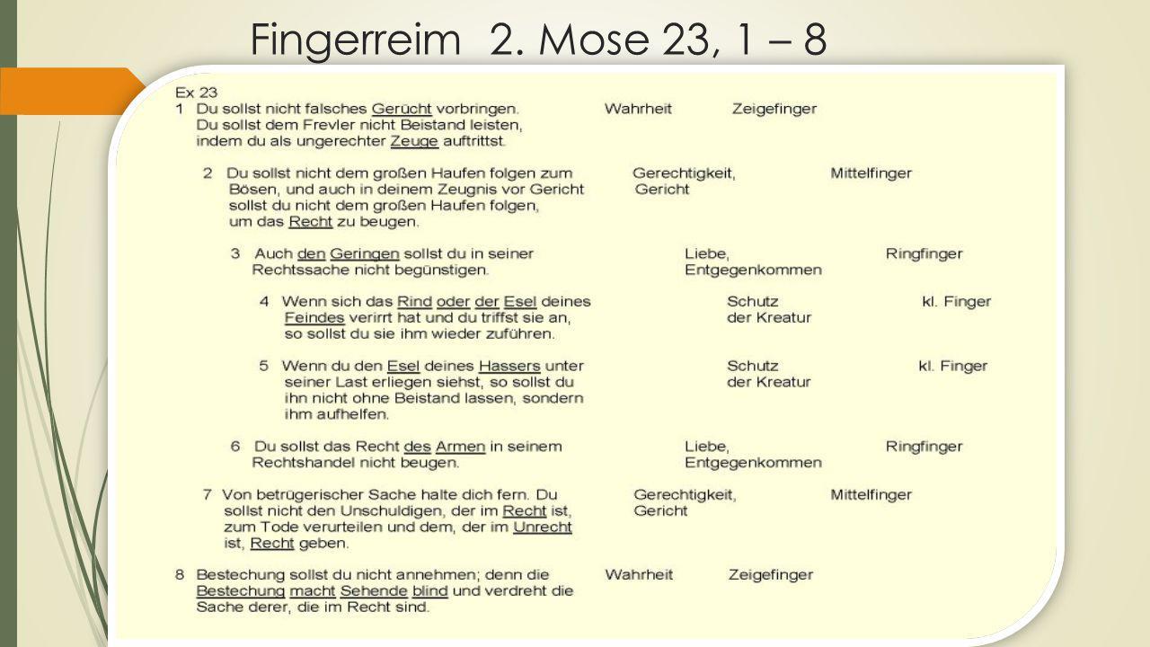 Fingerreim 2. Mose 23, 1 – 8