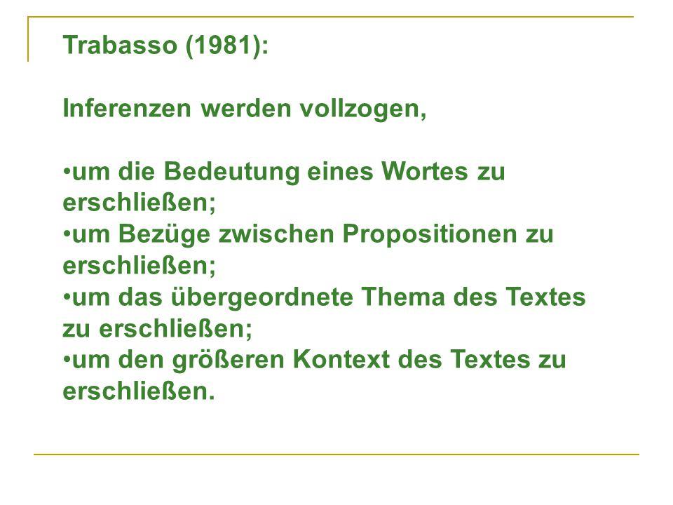 Trabasso (1981): Inferenzen werden vollzogen, um die Bedeutung eines Wortes zu erschließen; um Bezüge zwischen Propositionen zu erschließen;