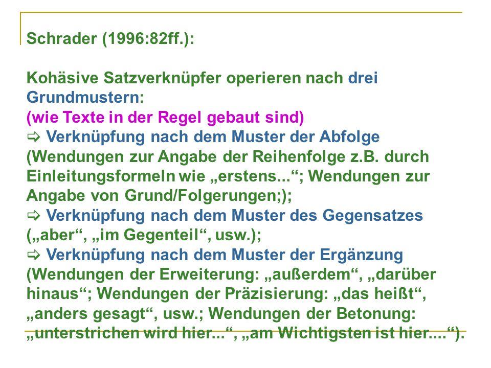 Schrader (1996:82ff.): Kohäsive Satzverknüpfer operieren nach drei Grundmustern: (wie Texte in der Regel gebaut sind)
