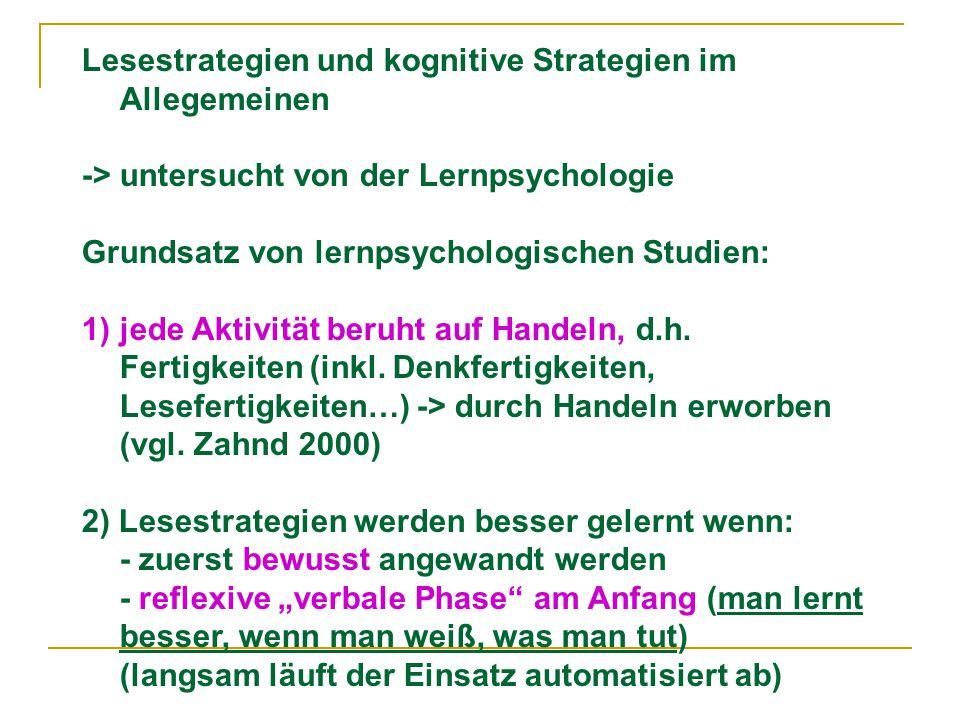 Lesestrategien und kognitive Strategien im Allegemeinen