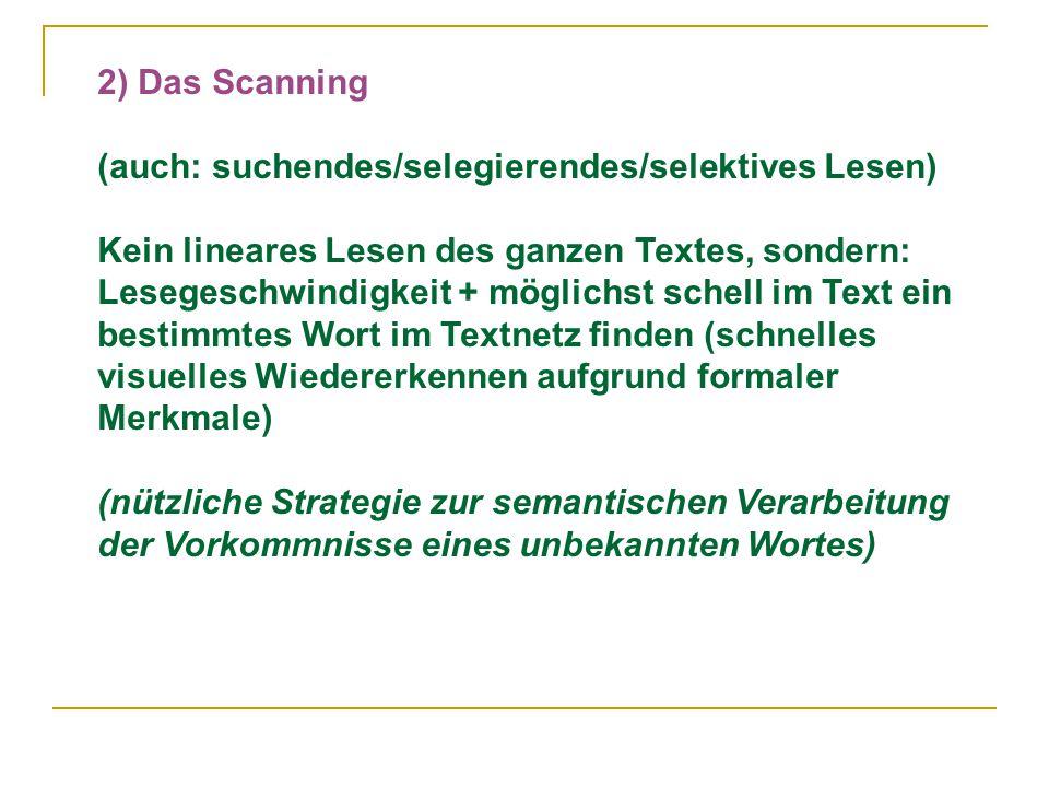 2) Das Scanning (auch: suchendes/selegierendes/selektives Lesen) Kein lineares Lesen des ganzen Textes, sondern: