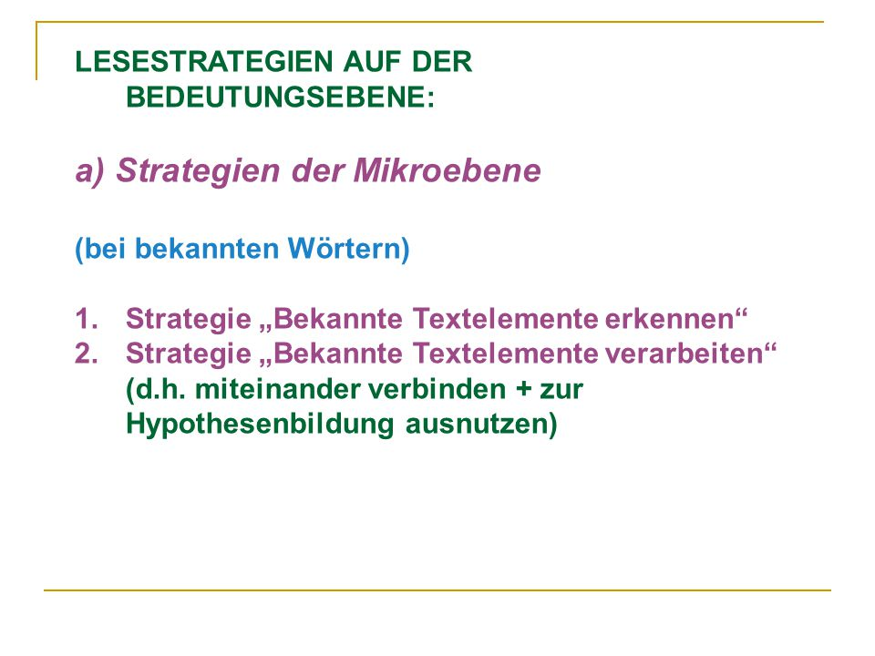 a) Strategien der Mikroebene