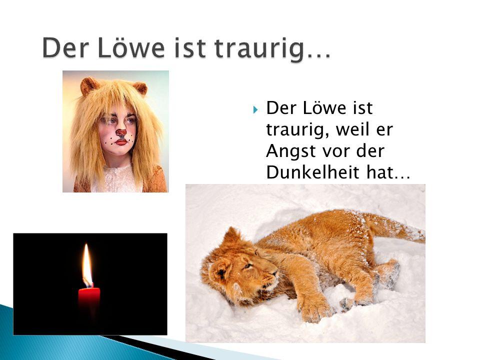 Der Löwe ist traurig… Der Löwe ist traurig, weil er Angst vor der Dunkelheit hat…