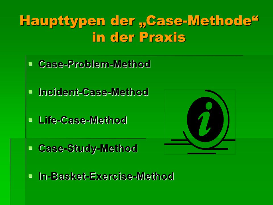 "Haupttypen der ""Case-Methode in der Praxis"