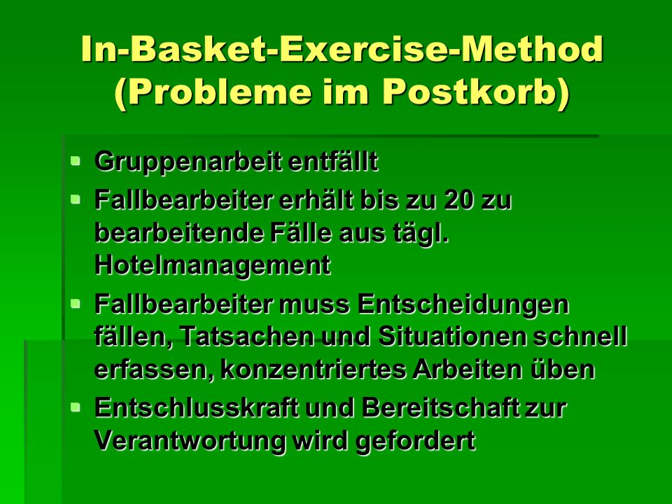 In-Basket-Exercise-Method (Probleme im Postkorb)