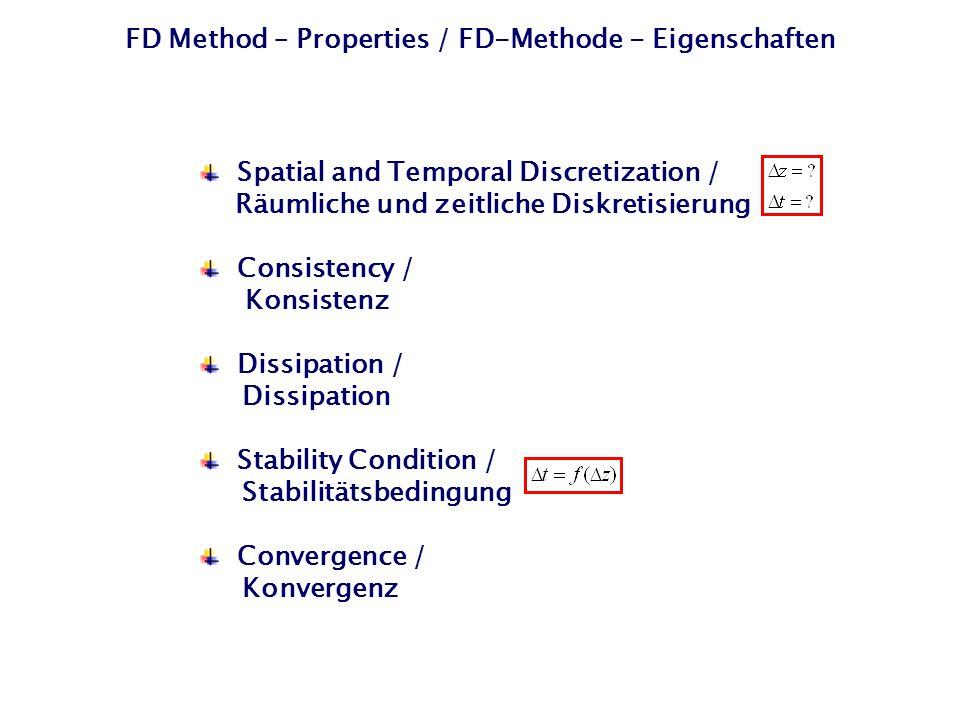 FD Method – Properties / FD-Methode - Eigenschaften