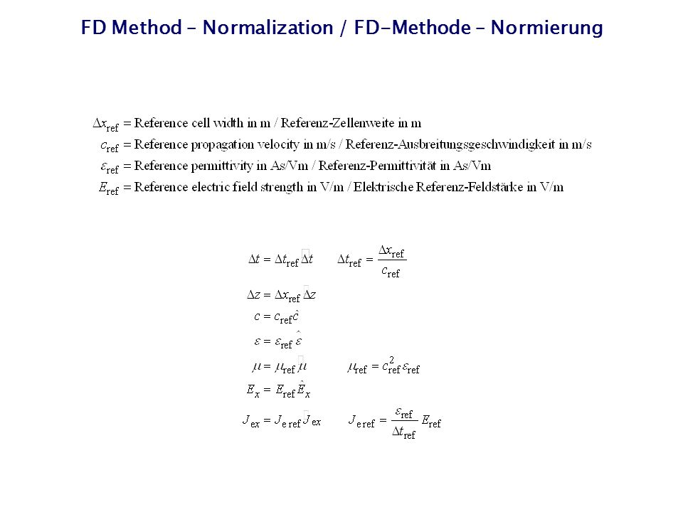 FD Method – Normalization / FD-Methode – Normierung