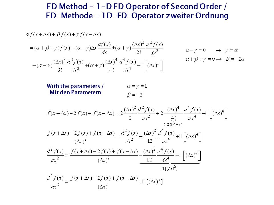 FD Method - 1-D FD Operator of Second Order / FD-Methode - 1D-FD-Operator zweiter Ordnung