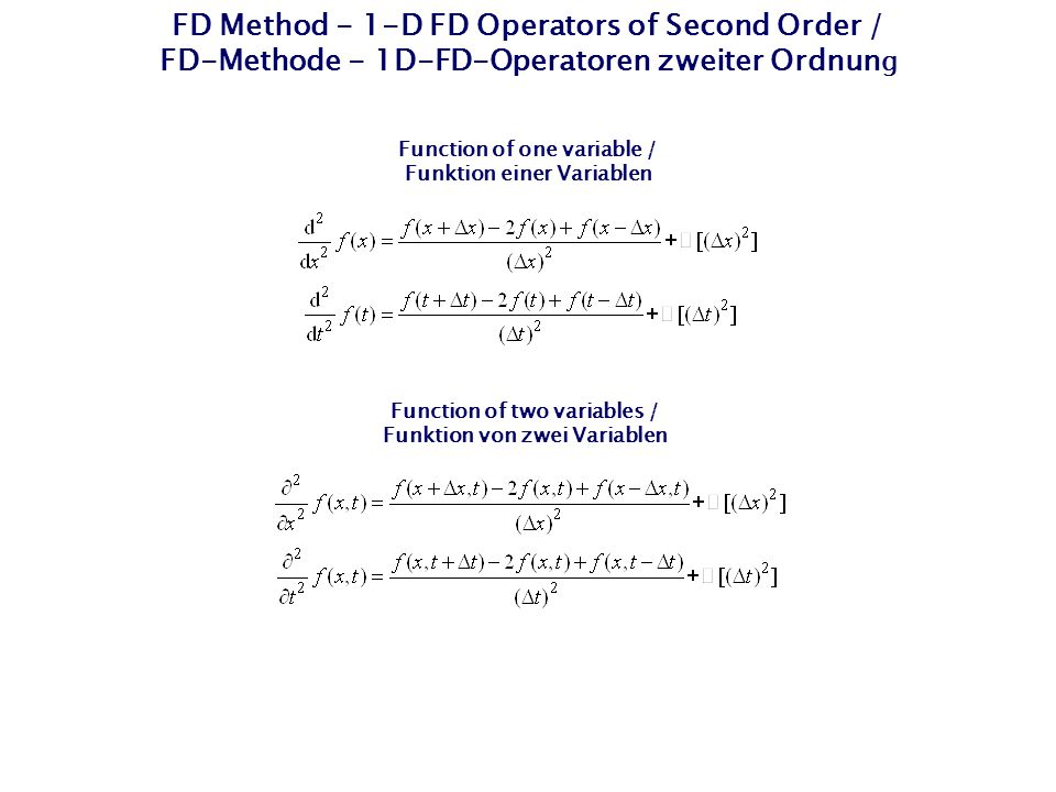 FD Method - 1-D FD Operators of Second Order / FD-Methode - 1D-FD-Operatoren zweiter Ordnung