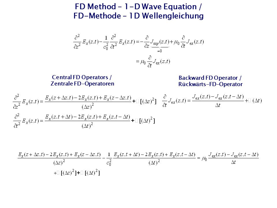 FD Method – 1-D Wave Equation / FD-Methode – 1D Wellengleichung